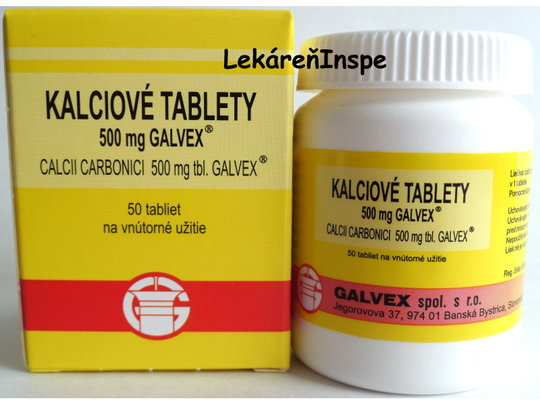 Kalciové tablety 500 mg Galvex (Calciii Carbonici)  50 tbl.